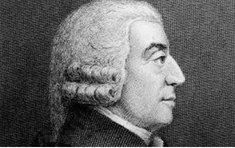 A picture of Adam Smith, an economist who wrote about the division of labour.