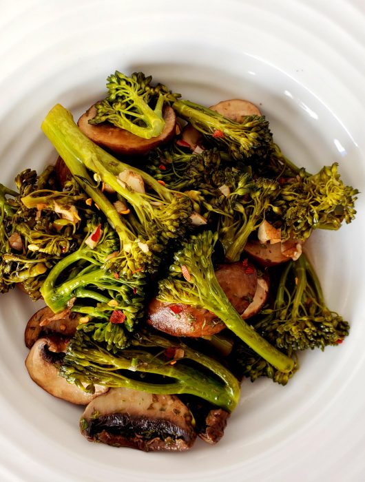 Balsamic Broccolini and Mushrooms
