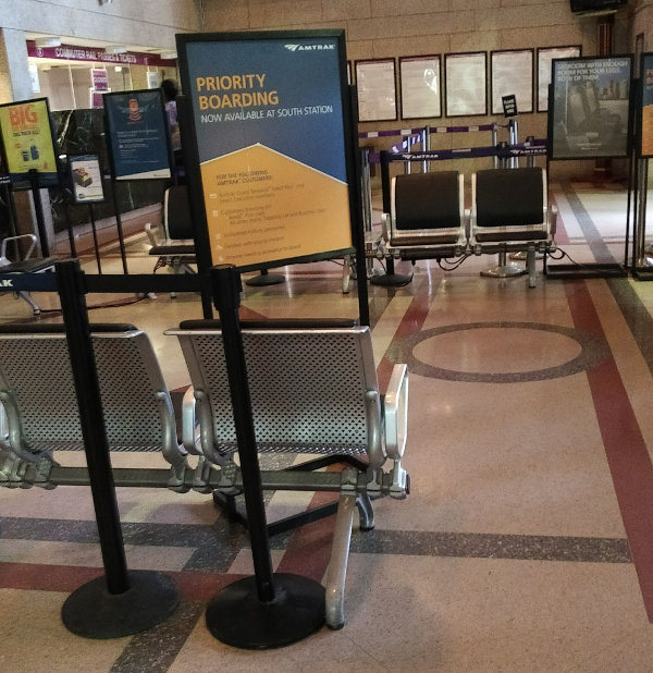 Boston Club Acela temporary seating in ticketing area