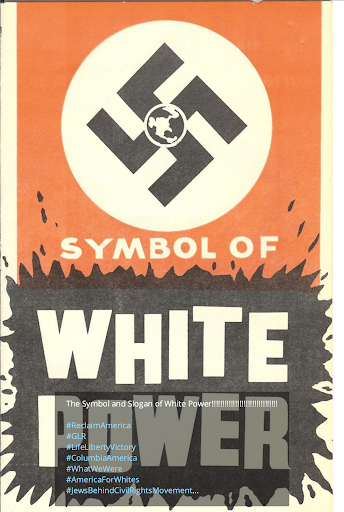 A post in the 'White Lives Matter Philadelphia' Telegram channel: the red and black Nazi swastika symbol with a black-and-white globe in the center. Below the swastika, the words 'SYMBOL OF WHITE POWER'