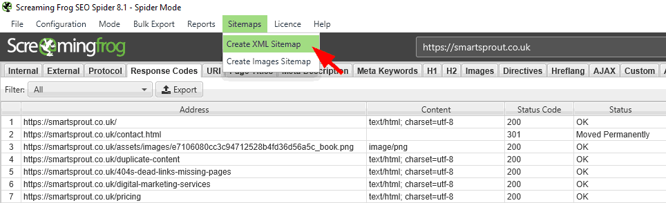 This image demontrates how to create an xml sitemap