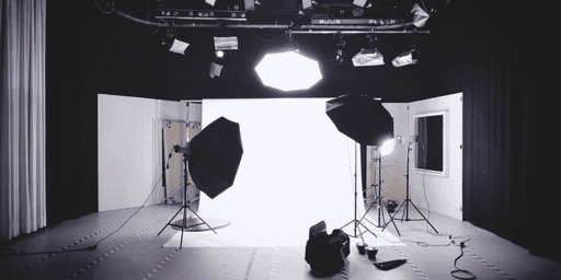 Empty photography set in London, England, with lights, curtains, walls, cameras, acts a tool for business #business