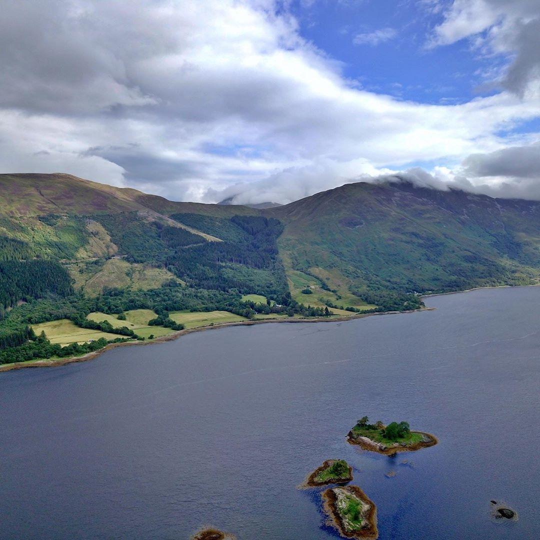 aerial photo of scottish landscape