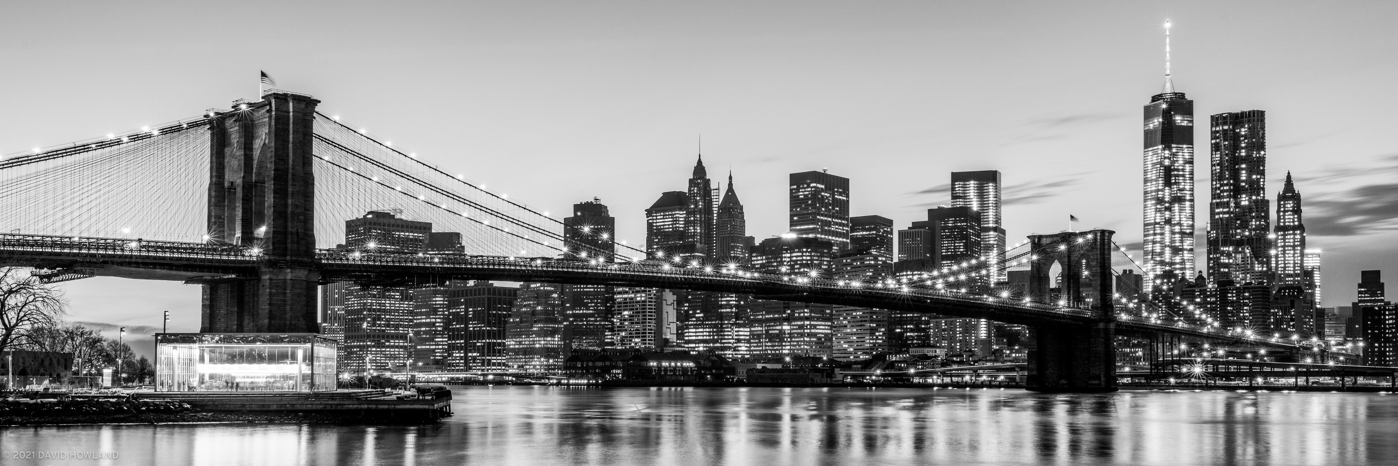 Black & White Brookyln Bridge Panorama
