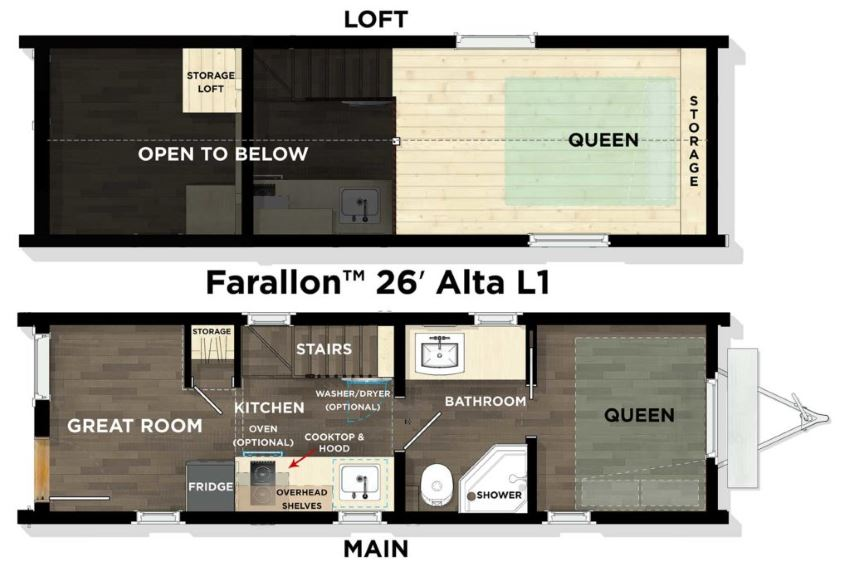 Tumbleweed's Farallon Alta 26' floor plan, showing ground and loft floors.