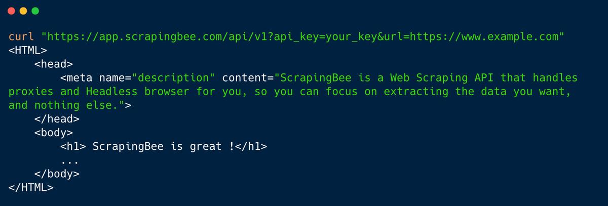 ScrapingBee usage screenshot