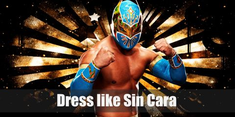 Sin Cara's signature outfit includes a green mask with wings, green armbands, green wrestling pants, and a pair of black boots.