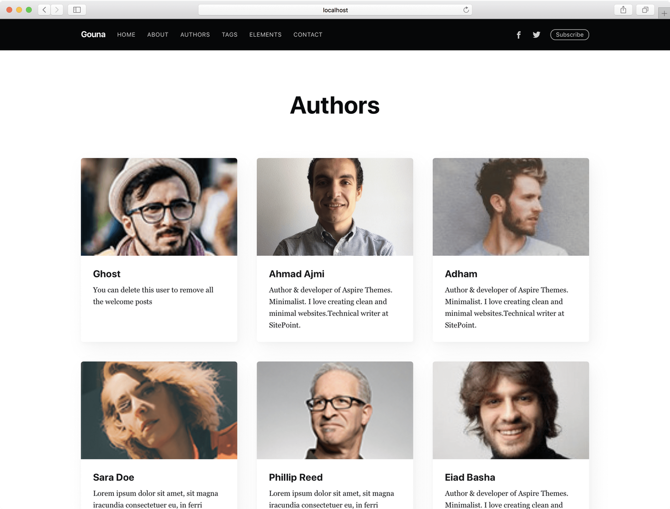 Ghost Casper Theme Authors Page