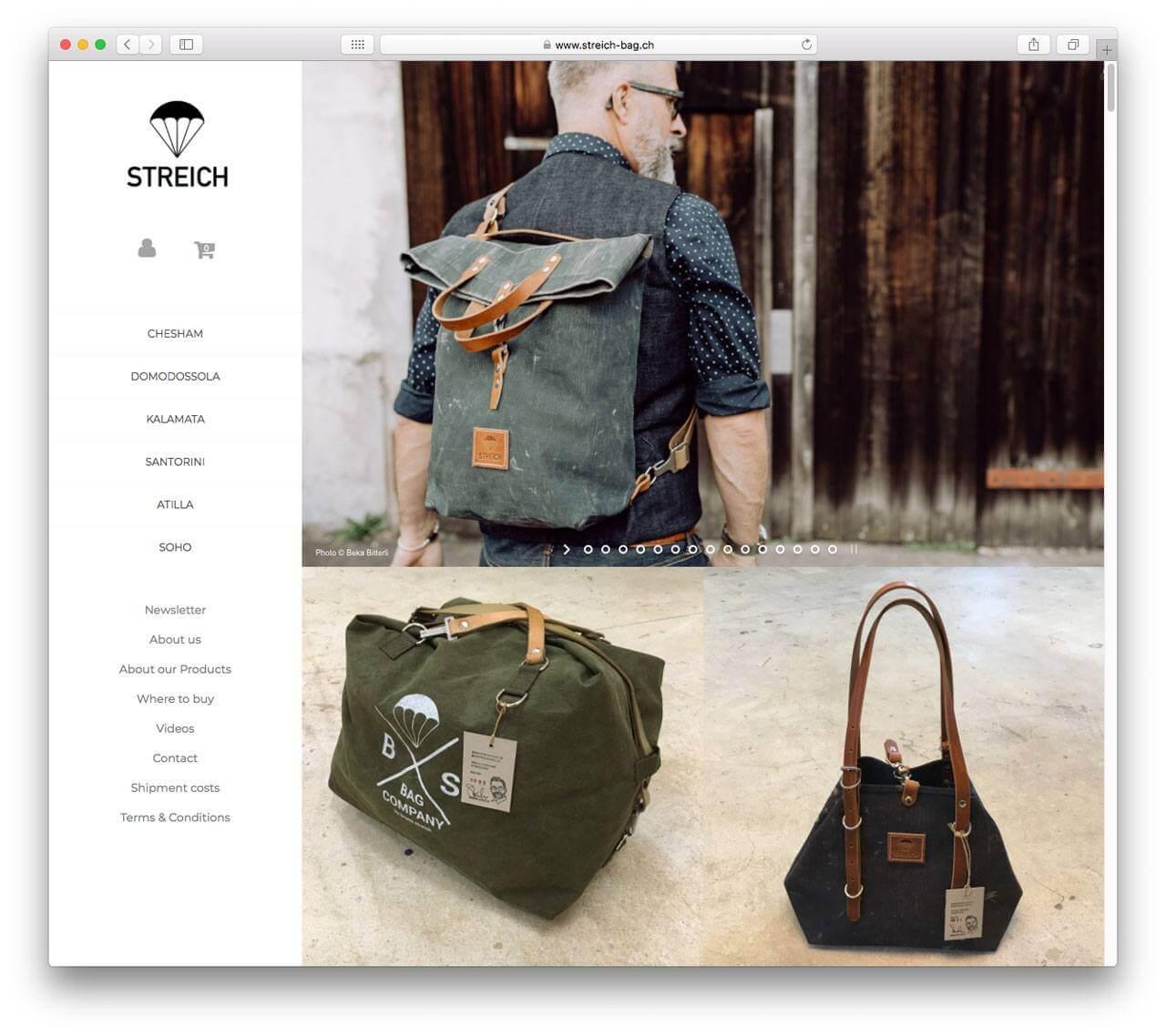 Streich Bags E-Commerce Screenshot