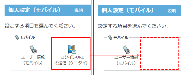 ログインURLの操作リンクが非表示になる比較画像