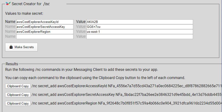 secret creator to encrypt AWS api keys to display aws billing info in slack