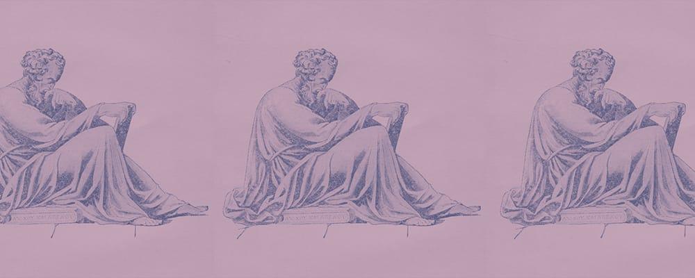 illustration of epictetus sitting reading a tablet