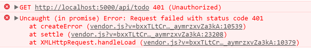 API request returns 401