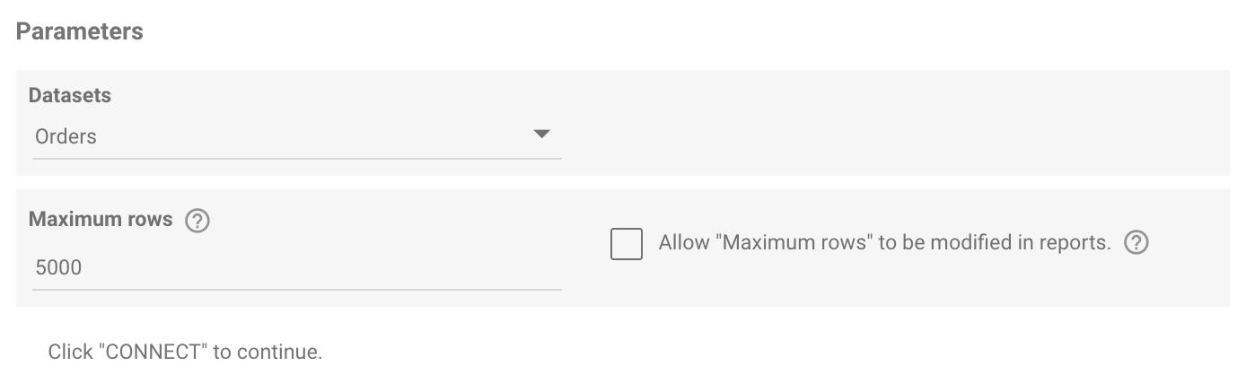 Google Data Studio Parameter Screen