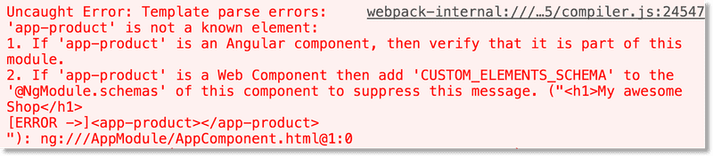 The template parse error message