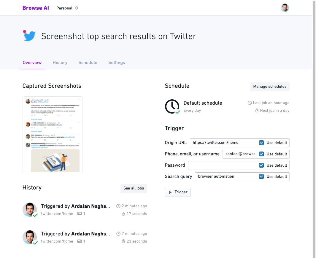 Overview - Screenshot top search results on Twitter - Browse AI
