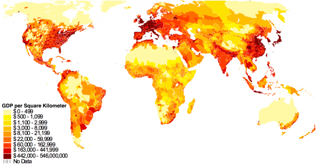 World-Map-of-GDP-per-square-km– Gallup-and-Sachs-(1999)
