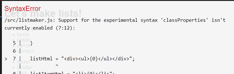 Syntax error showing because Babel JS is not configured correctly