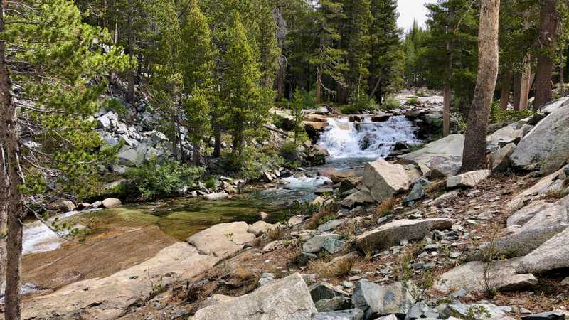 A waterfall on Evolution Creek