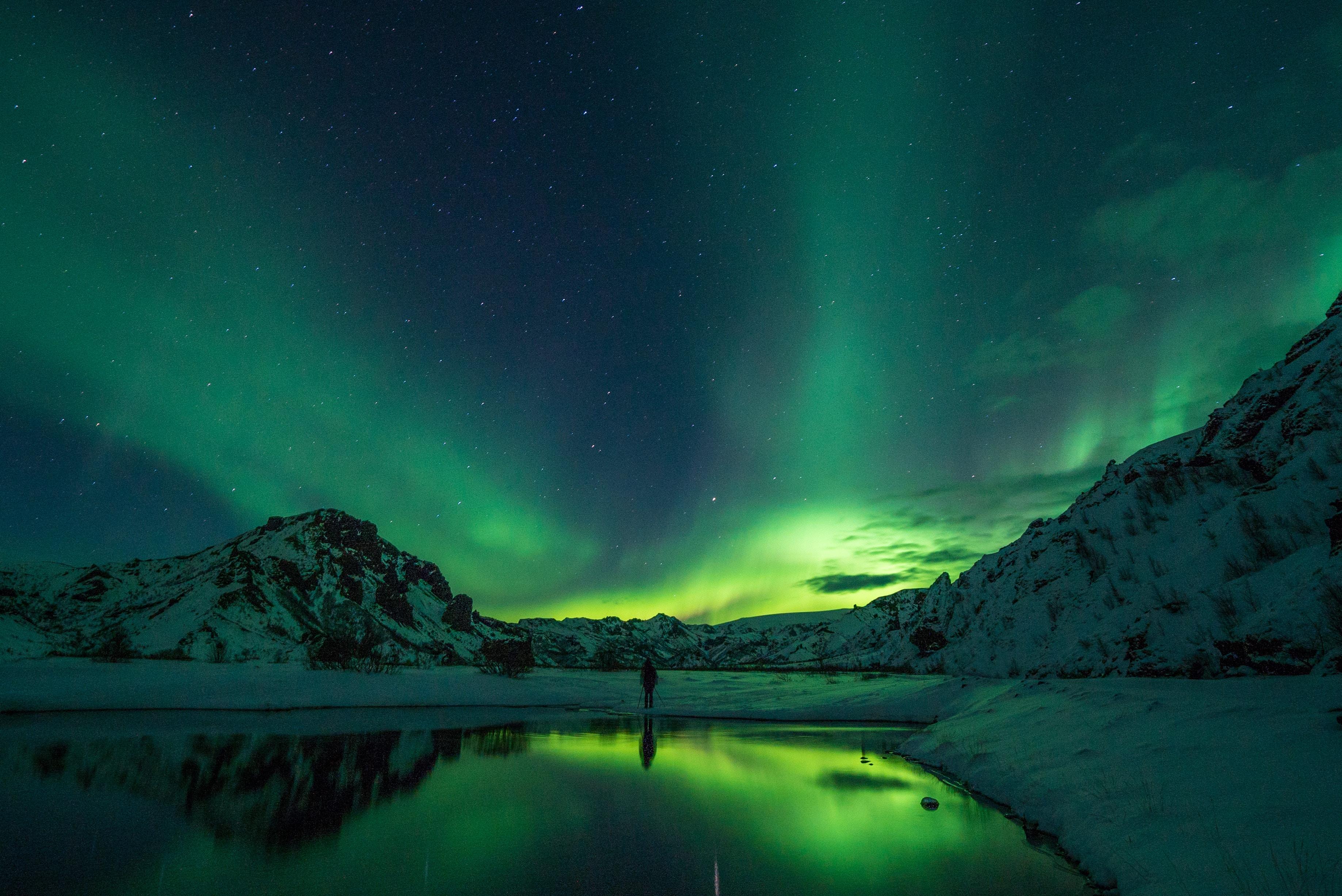 Imagem de uma aurora boreal