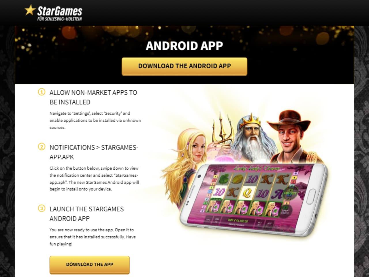 Cash Casino Android-App Landingpage