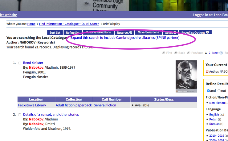 Screenshot of the Suffolk Libraries catalogue