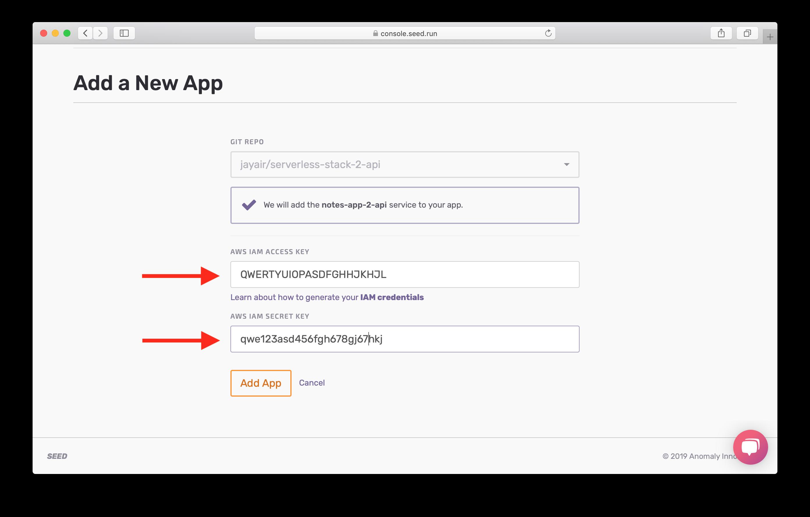Add AWS IAM credentials screenshot