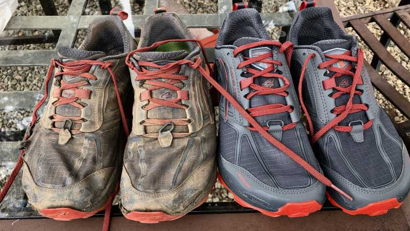 Old and new Altra Lone Peak 4 shoes