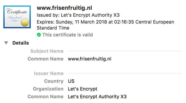 Het Let's Encrypt certificaat van www.frisenfruitig.nl