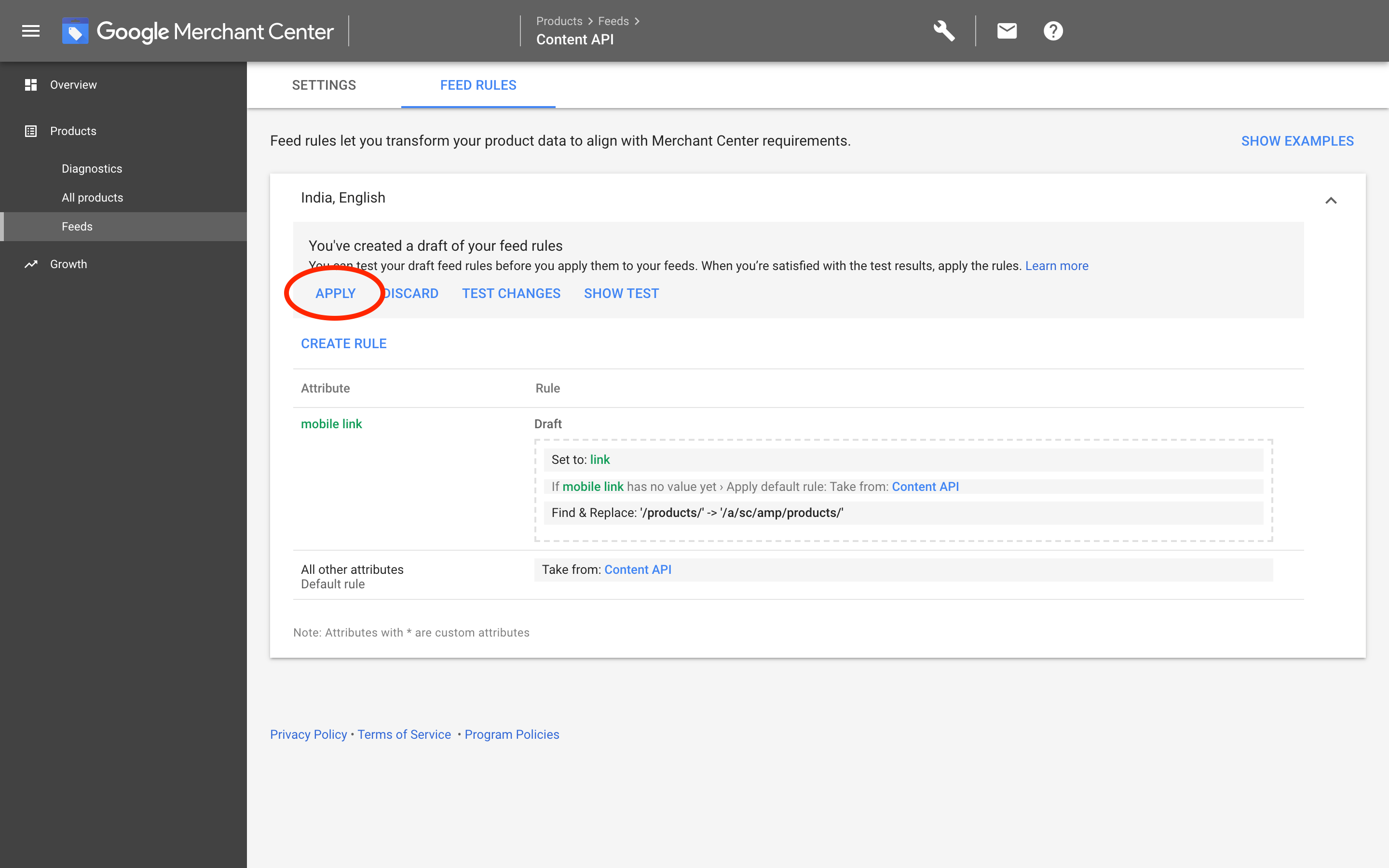 Google Merchants: Apply changes