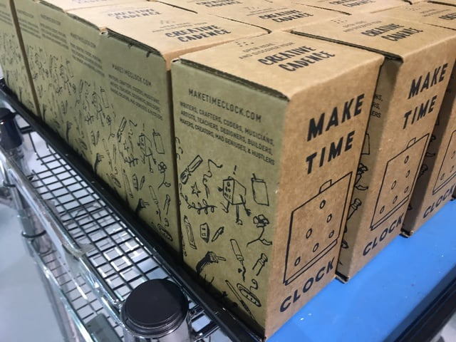 Row of packaged clocks