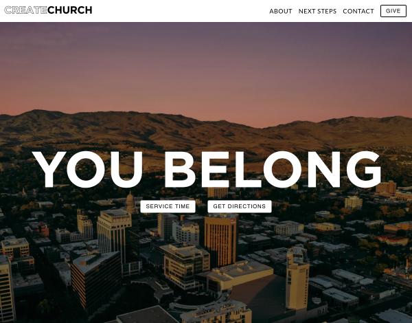 Create Church Website Screenshot