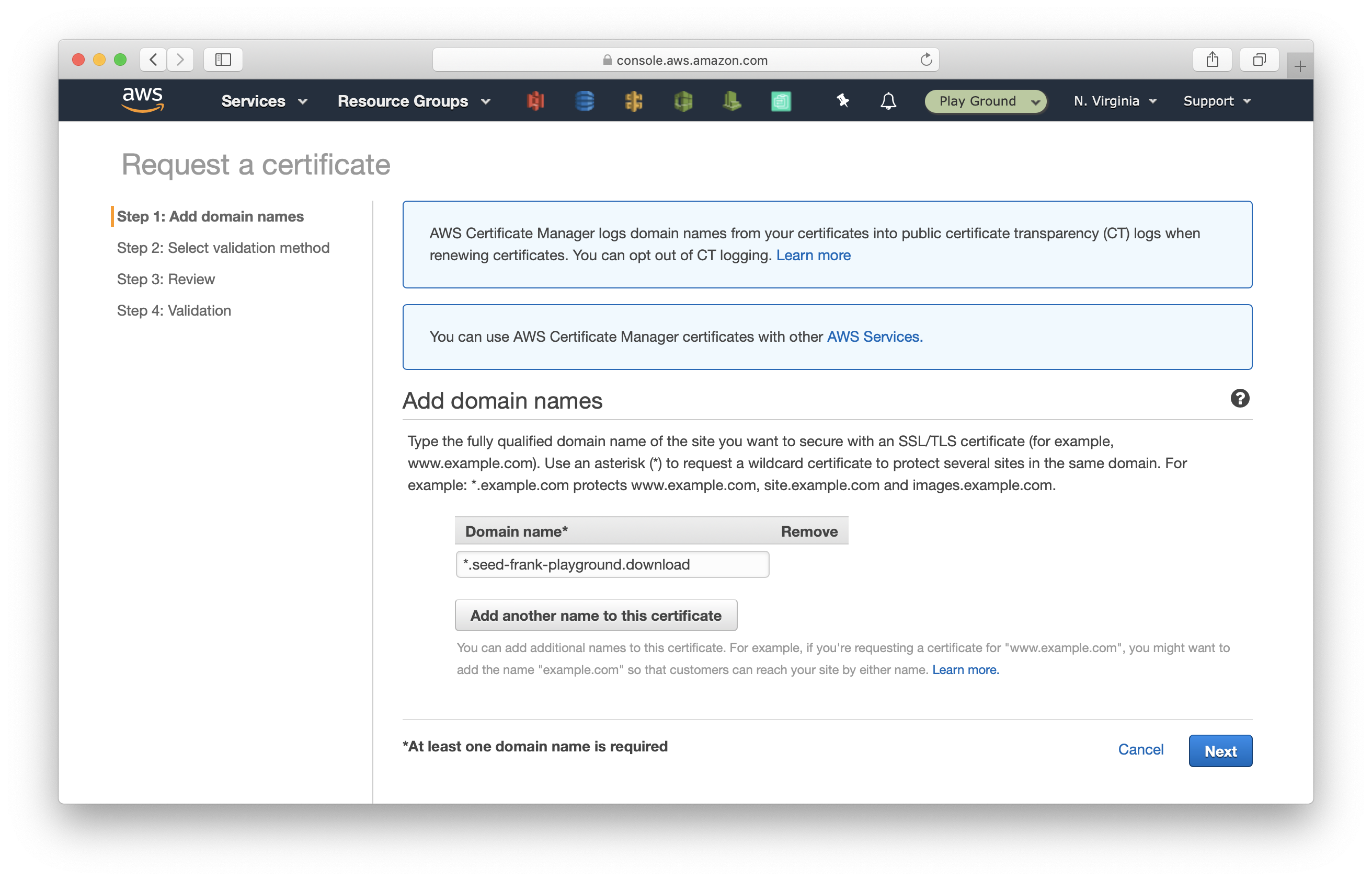 Set domain name for certificate in Certificate Manager