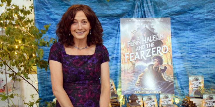 Francesca Armour-Chelu with her new novel, Fenn Halflin and the Fearzero
