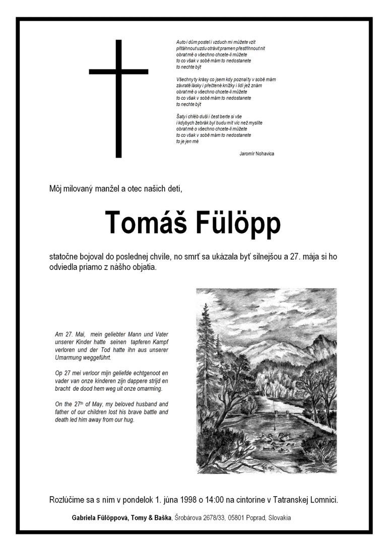 Smútočné oznámenieo úmrtí Tomáša Fülöppa staršieho (27. mája 1998)