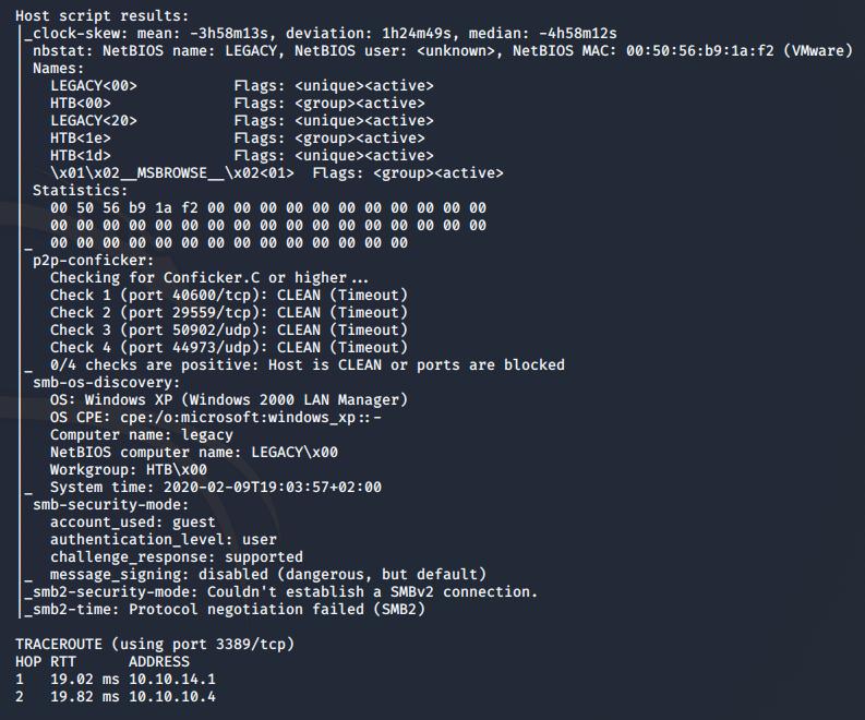 nmap script results