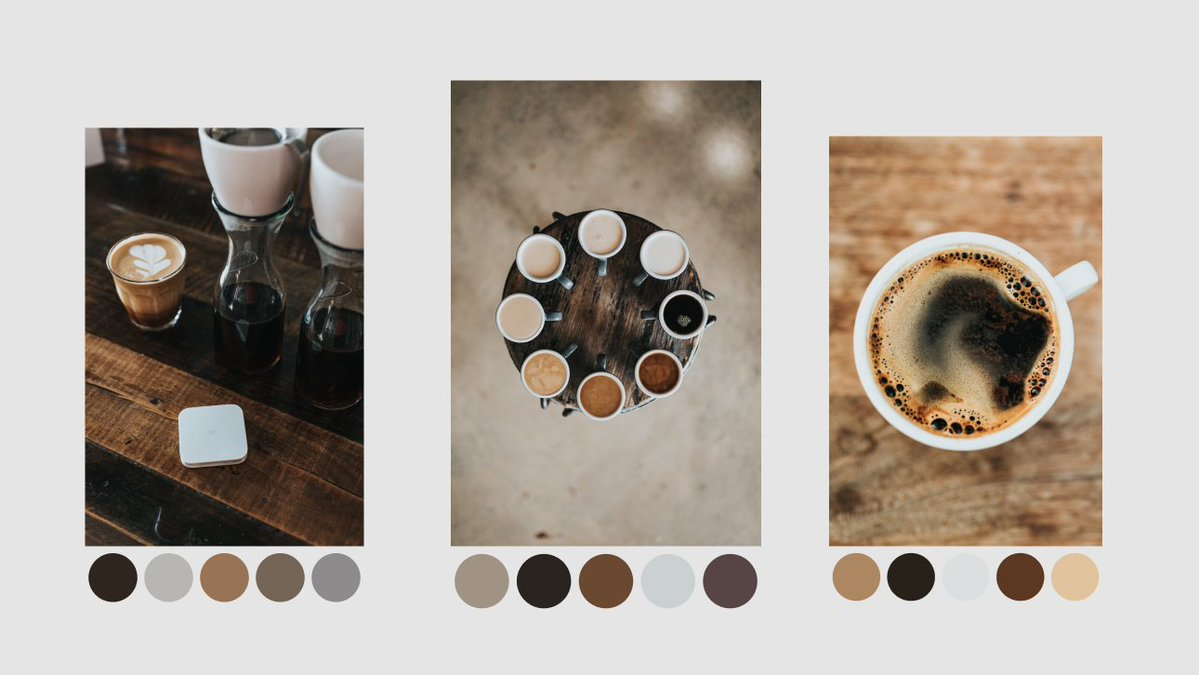 Brown color palettes abstracted from and displayed beneath 3 different photos of coffee. Each palette feels very different than the last.