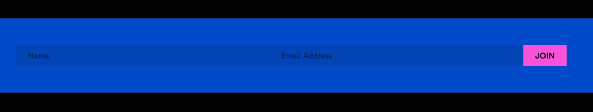 A blue form on a website, with darker blue form fields that aren't very discernable, with black text in the form fields with a hot pink submit button.