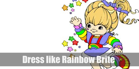 Rainbow Brite main dress is colored blue but her whole outfit is usually scattered with rainbow-themed patterns.