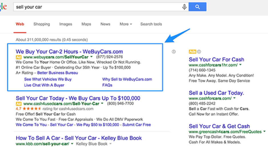 An example Google Ad which shows a bettter example of capturing customer intent