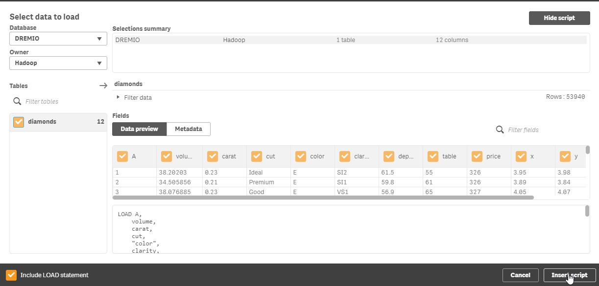 loadfromdremio with Hadoop and Qlik