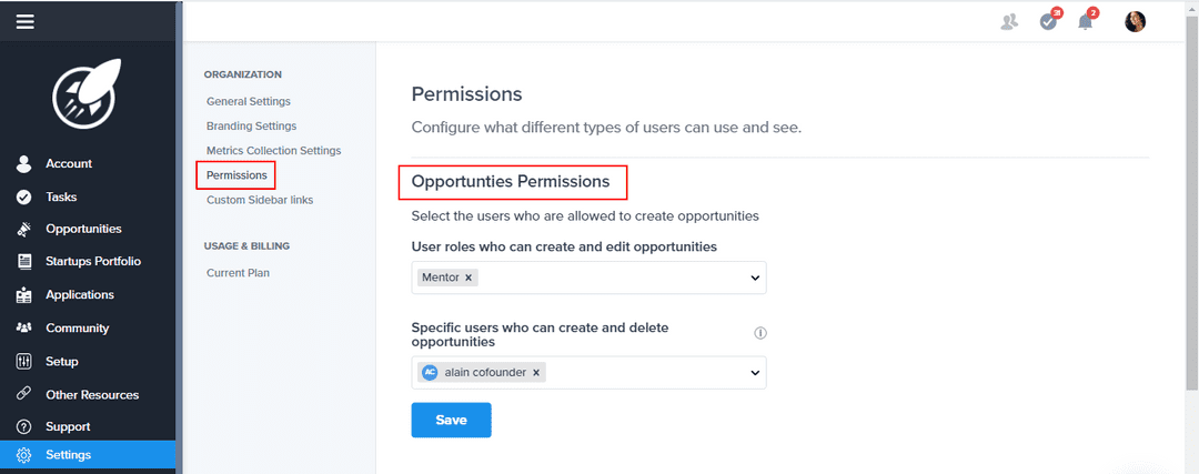 Opportunities permission