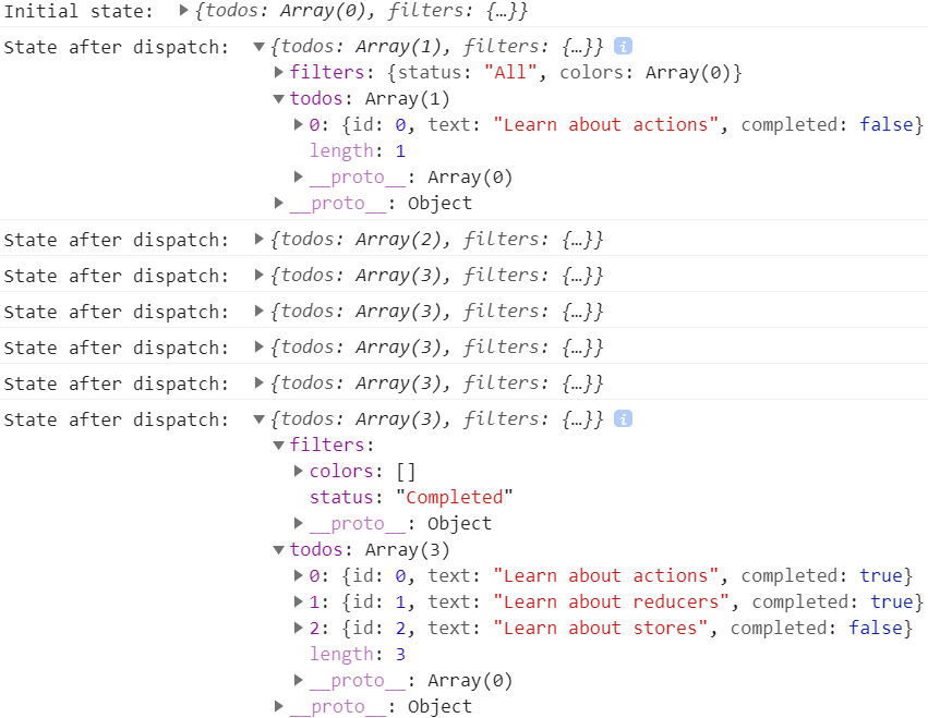 Logged Redux state after dispatching actions