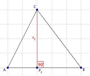 Trojúhelník s vyznačenou výškou z bodu C