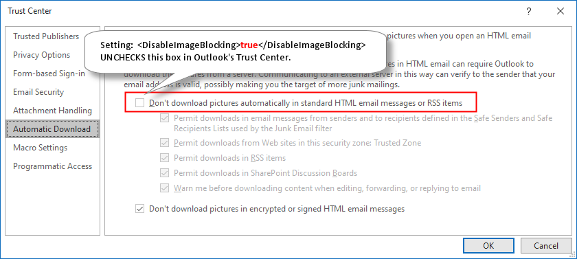 Disable Image Blocking in Outlook