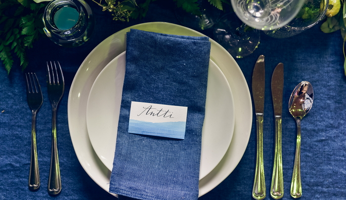 blue abstract watercolor place card. Photo by Alina Shchurova. item thumbnail