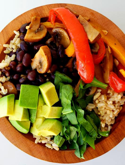 Vegan Fajita Bowls with Brown Rice