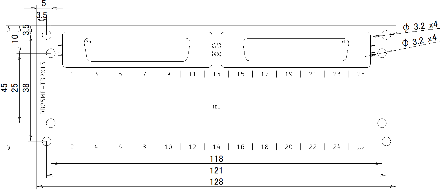 DB25MF-TB2X13の外形寸法図