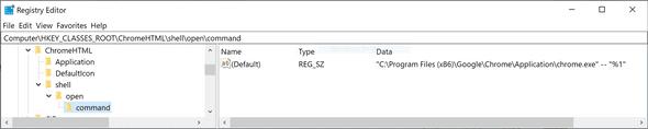 HKEYCLASSESROOT\ChromeHTML\shell\open\command