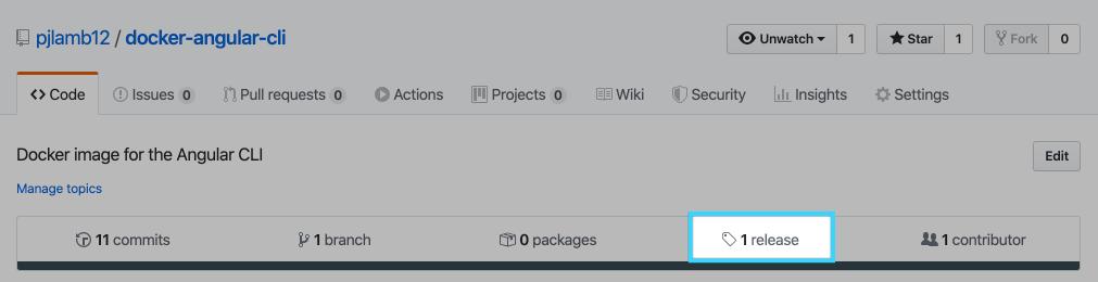 GitHub releases tab